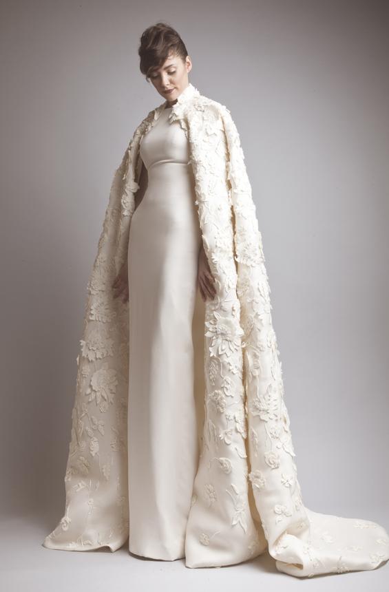 Ashi Studio FW13 bridal applique cape on Exshoesme.com