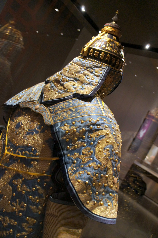Helmet and cape from ceremonial armour from The Forbidden City Exhibition at the Royal Ontario Museum March 2014 on Exshoesme.com. Photo by Jyotika Malhotra