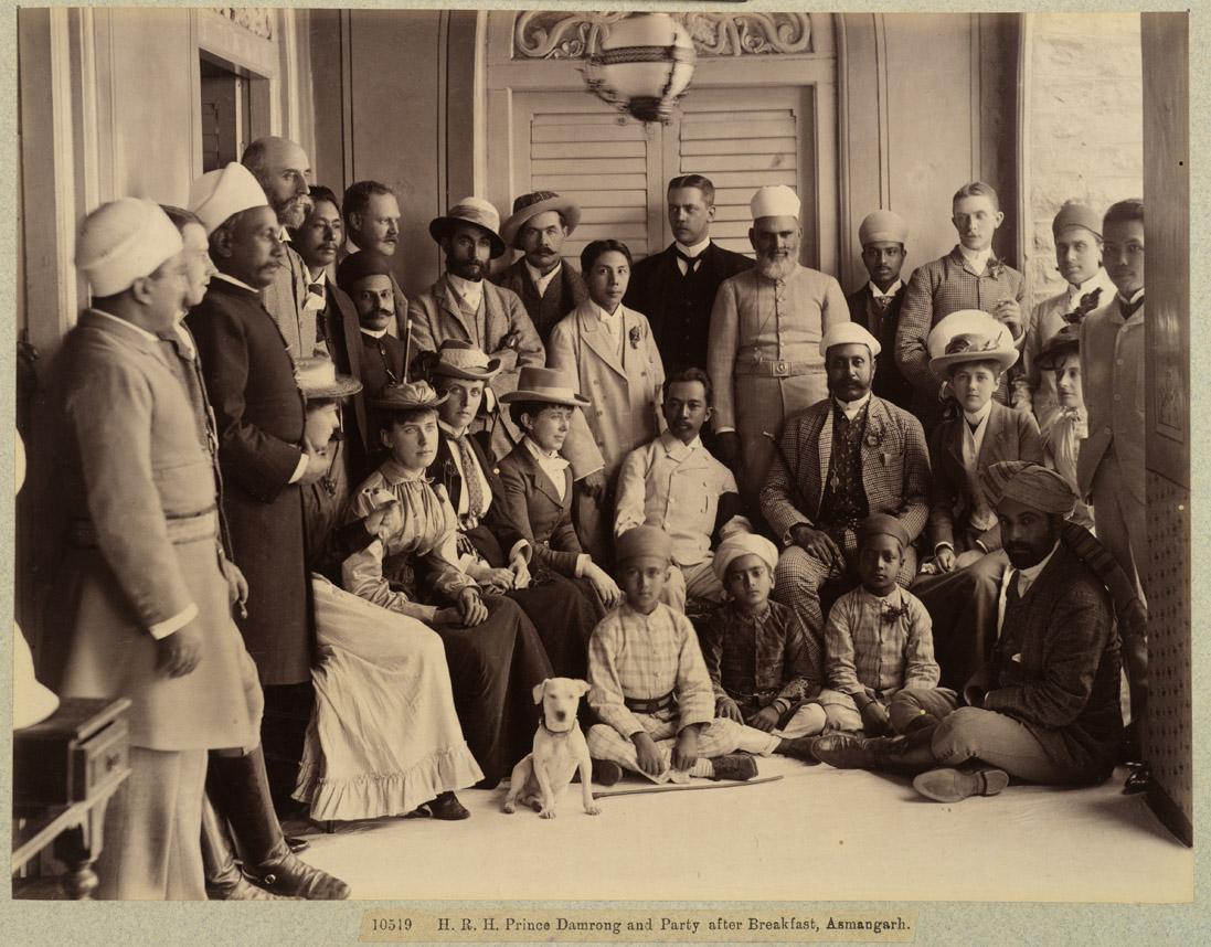6. His Royal Highness Prince Damrong and Party after Breakfast, Asmangarh; 1892, Raja Deen Dayal
