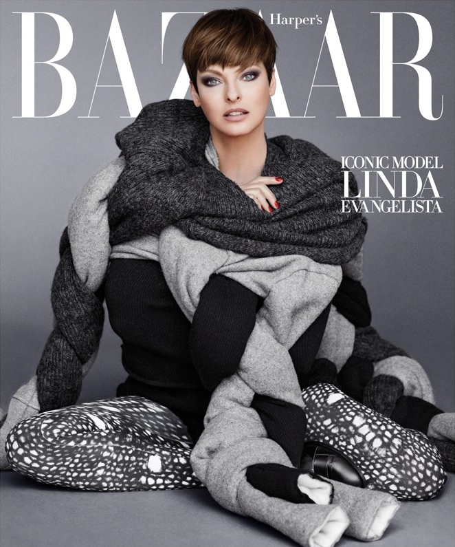 Linda Evangelista on the cover of Harper's Bazaar September 2014 Issue on Exshoesme.com