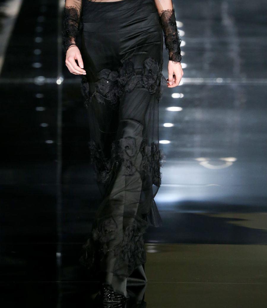 Tom Ford SS15 Sheer skirt over flared pants on Exshoesme.com