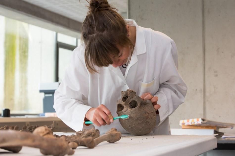 Marit Van Cant onderzoekt de karakteristieken van een schedel © Geert Vyverman
