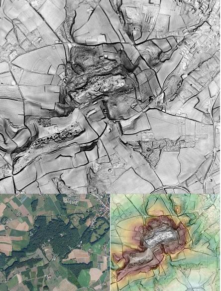 Kemmelberg en omgeving: de frontstreek is tot op vandaag bezaaid met ontelbare kuilen en kraters van artillerie-inslagen. Dit is goed te zien op deze visualisatie van de Kemmelberg © foto en DHM Informatie Vlaanderen, visualisaties DHM W.Gheyle, UGent