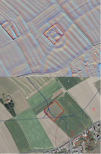 """Comines Warneton, weide met oorlogssporen zoals smalsporen en bomkraters, maar daarnaast ook eeuwenoude percelering te zien, gebogen """"holle"""" weg, heuvel met circulaire grachten (mogelijke motte)… De orthofoto geeft al die informatie niet weer. Ingetekende sporen op basis van luchtfoto's uit WO I ter vergelijking © foto en DHM Informatie Vlaanderen, visualisaties DHM W.Gheyle, UGent"""