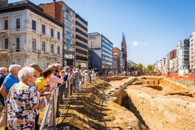 Op 8 mei kwamen meer dan 2600 bezoekers de monumentale resten van het bastion Huidevetterstoren bekijken © Frederik Beyens