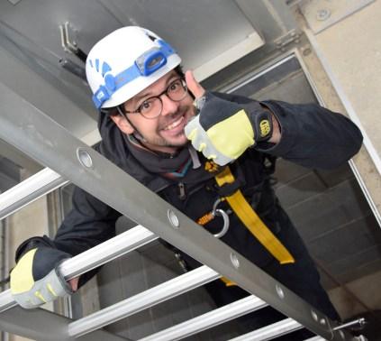 Via een tien meter lange ladder komen de bezoekers in een galerij terecht © Universiteit Gent