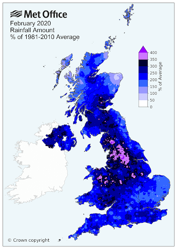 Met Office February 2020 Rainfall Amount Percent of 1981 to 2010 Average