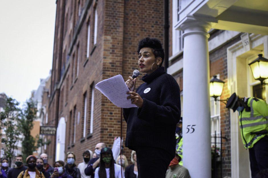 Writer Zadie Smith speaks to a crowd at Extinction Rebellion's
