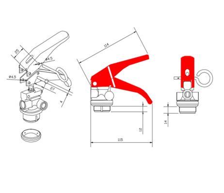 Plano válvula extintor