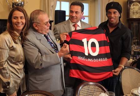 Patrícia Amorim com Marcos Villaça, Luxemburgo e Ronaldinho