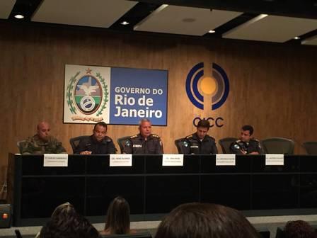Oficiais do Bope em coletiva no CICC