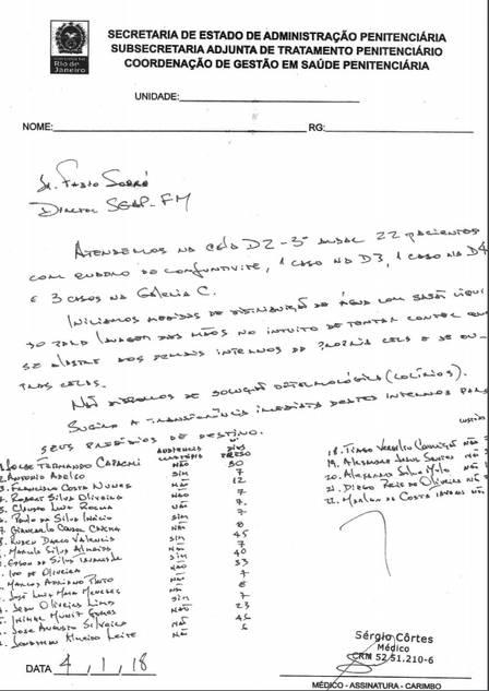 O documento elaborado por Côrtes