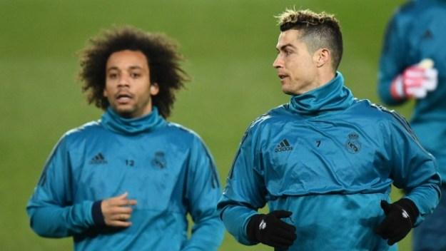 Marcelo e Cristiano Ronaldo treinam no Real Madrid