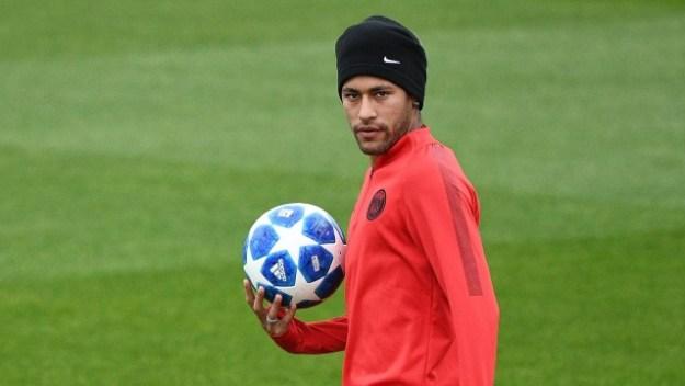Neymar no treino do PSG, desta terça-feira