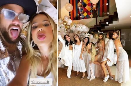 Neymar com algumas das convidadas