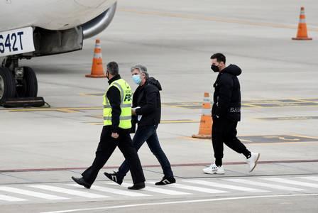 Messi no aeroporto de Rosario, na Argentina