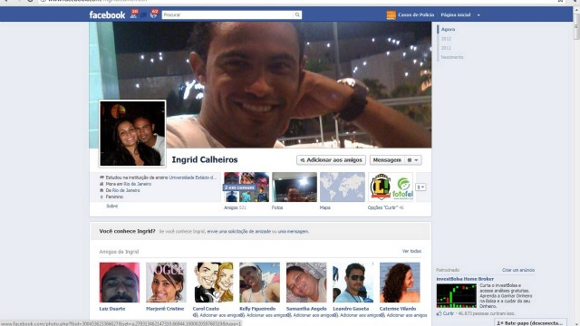 O perfil de Ingrid no Facebook