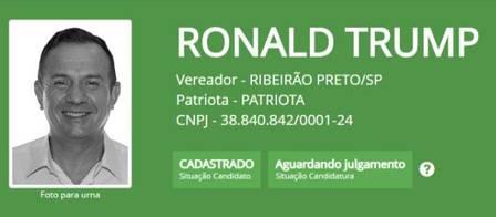 Ronaldo de Oliveira, o 'Ronald Trump', que é candidato a vereador em Ribeirão Preto pelo Patriotas