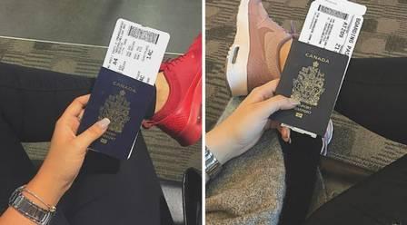 Melina publicou fotos do passaporte quando viajou para o Marrocos e para Londres, na Inglaterra