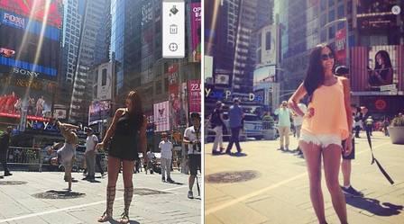 As jovens em viagem à Nova Iorque, nos Estados Unidos