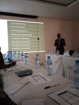 Mr Neila Ikeyi making a presentation on overview of beneficial ownership reporting process