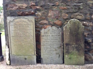 Old and intriguing headstones outside the church.