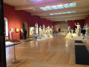 Sculptures and ancient relics on display.