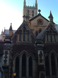 The glorious Southwark Cathedral visible from the market.
