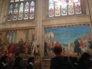 Murals painted in the hall representing various events.