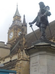 A statue just outside of Oliver Cromwell; the man who replaced King Charles I.