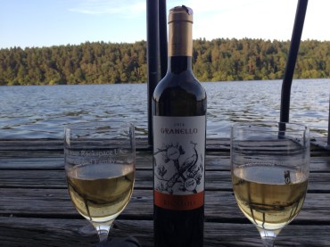 The Tuscan wine we saved from last year to enjoy with gift glasses on the lake.