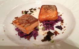 Salmon with red cabbage made for a perfect meal.