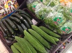 Japanese eggplants and cucumbers.