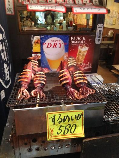 Interesting eats in the Kuromon Ichiban Market.