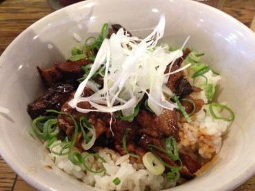 The only gluten-free lunch I could find on a budget: rice with pork.