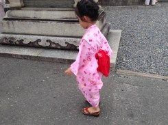 A little girl in a kimono for the Gion Festival.