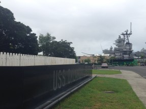 The USS Oklahoma memorial near the USS Missouri battleship.