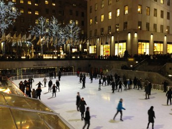 Skaters not falling on the ice.