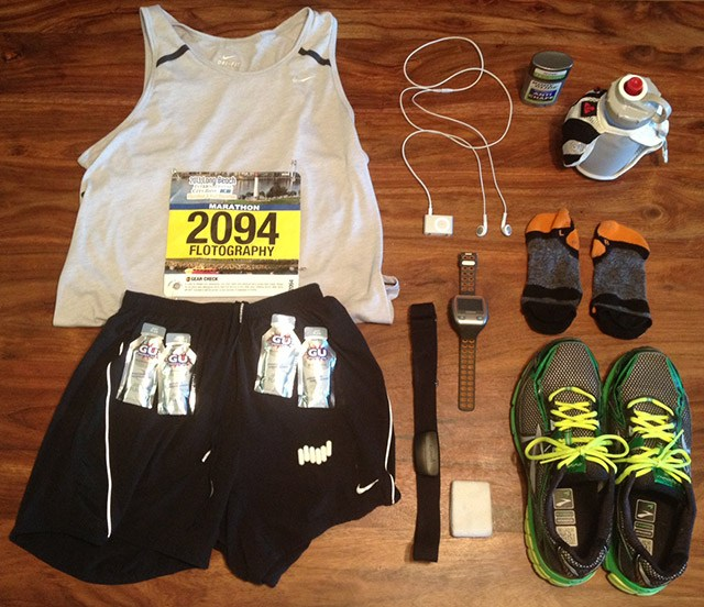 Marathon Race gear, bib, gps watch, shoes, shorts, gu gel, shirt, heart rate monitor, water bottle