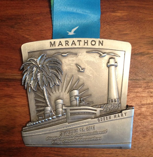 Marathon Medal of the Queen Mary in Long Beach, Floris Gierman Extramilest