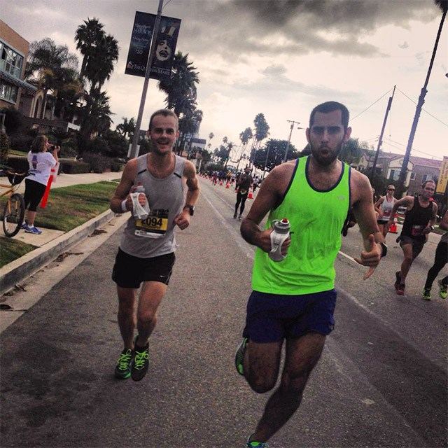 Mile 25 of the Long Beach Marathon, Floris Gierman with Damian Gomez