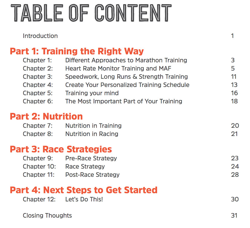 Table of content for marathon training guide