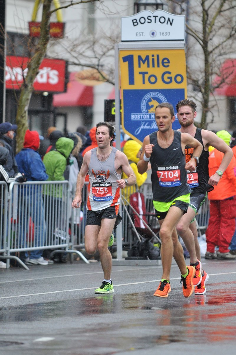 With 1 mile to go to the finish line at the Boston Marathon for Floris Gierman