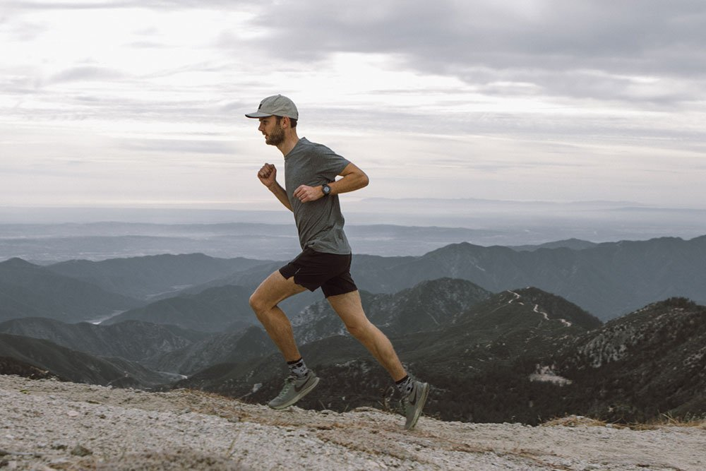 man running on a mountain