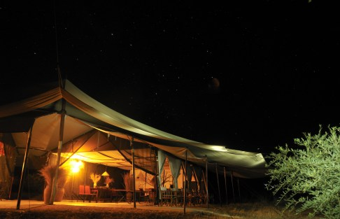 Kwihala mess tent by night