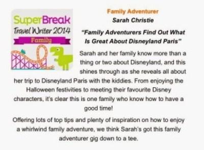 Super Break Family Travel Writer 2014