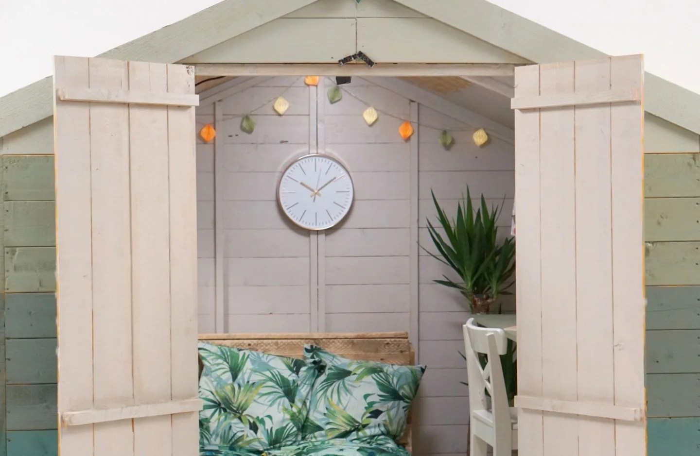 A finished Garden Office decorated with up-cycled furniture extraordinarychaos.com