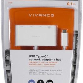 Vivanco adapter USB-C – LAN + hub 3-port (45388)