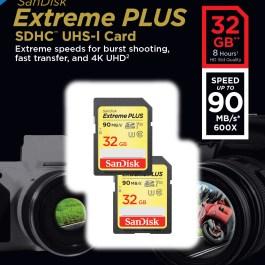 Sandisk mälukaart SDHC 32GB Extreme Plus 90MB/s 2tk