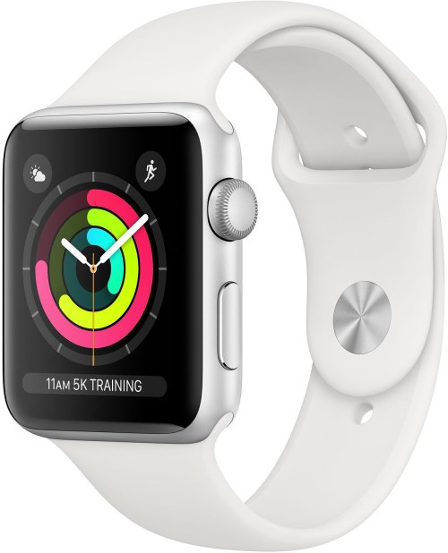Apple Watch 3 GPS 38mm Sport Band, silver/white